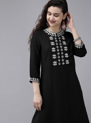Rayon Black Embroidered Designer Kurti