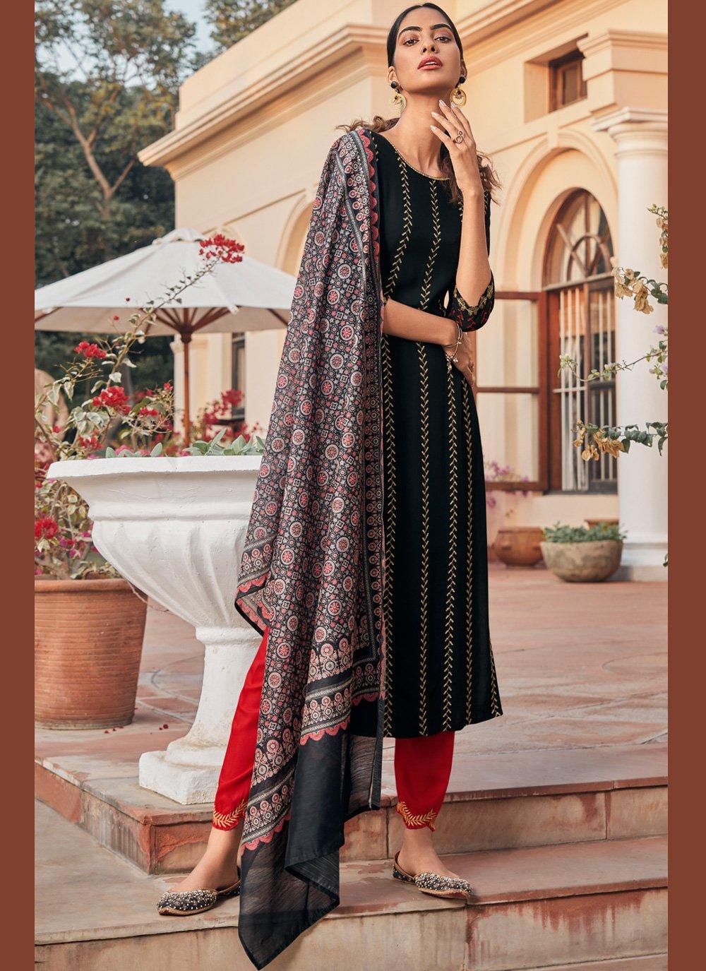 Rayon Black Embroidered Designer Salwar Kameez