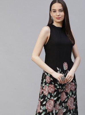 Rayon Black Floral Print Designer Kurti