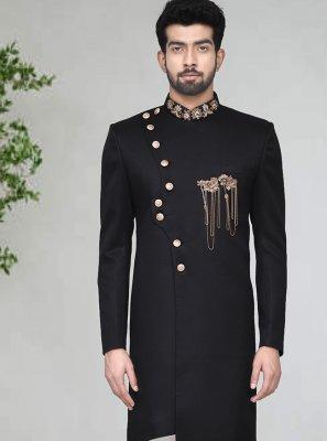 Rayon Black Indo Western Sherwani
