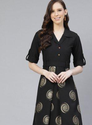 Rayon Black Printed Party Wear Kurti