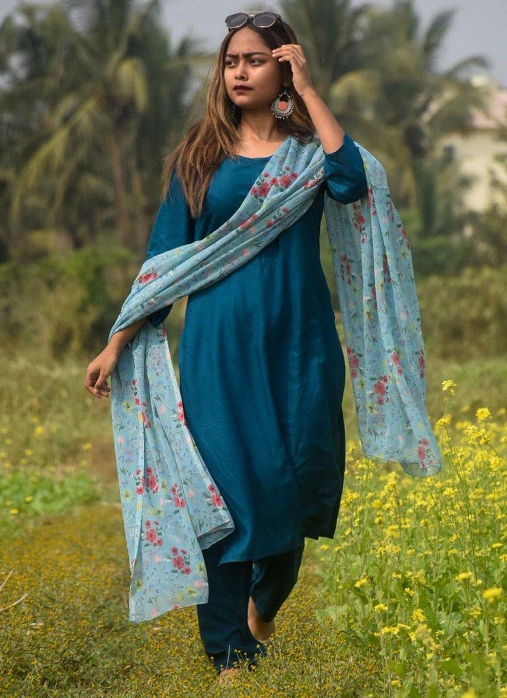 Rayon Blue Print Readymade Suit