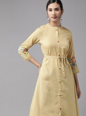 Rayon Cream Party Wear Kurti