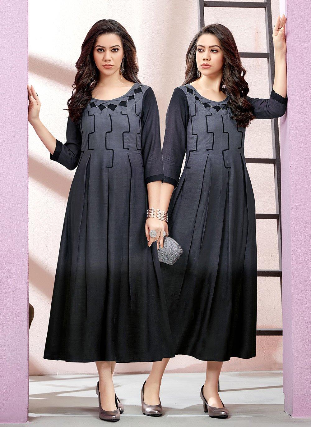 Rayon Designer Kurti in Black and Grey
