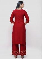 Rayon Designer Kurti in Red