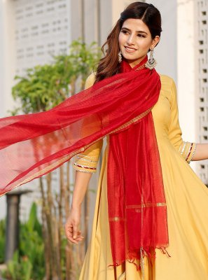 Rayon Designer Suit in Yellow