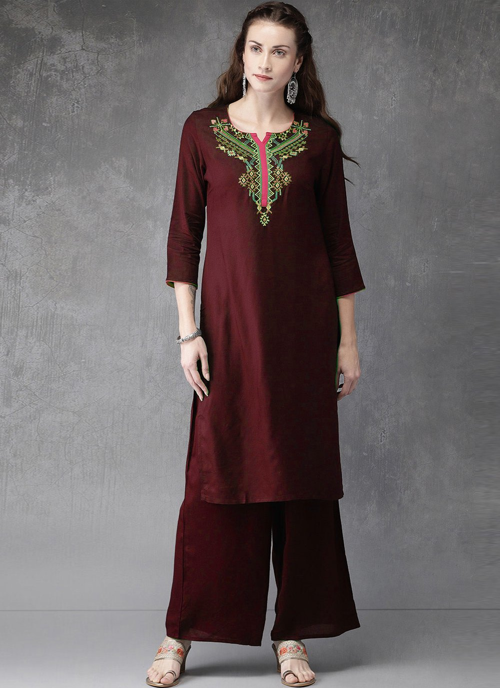 Rayon Embroidered Designer Kurti in Maroon