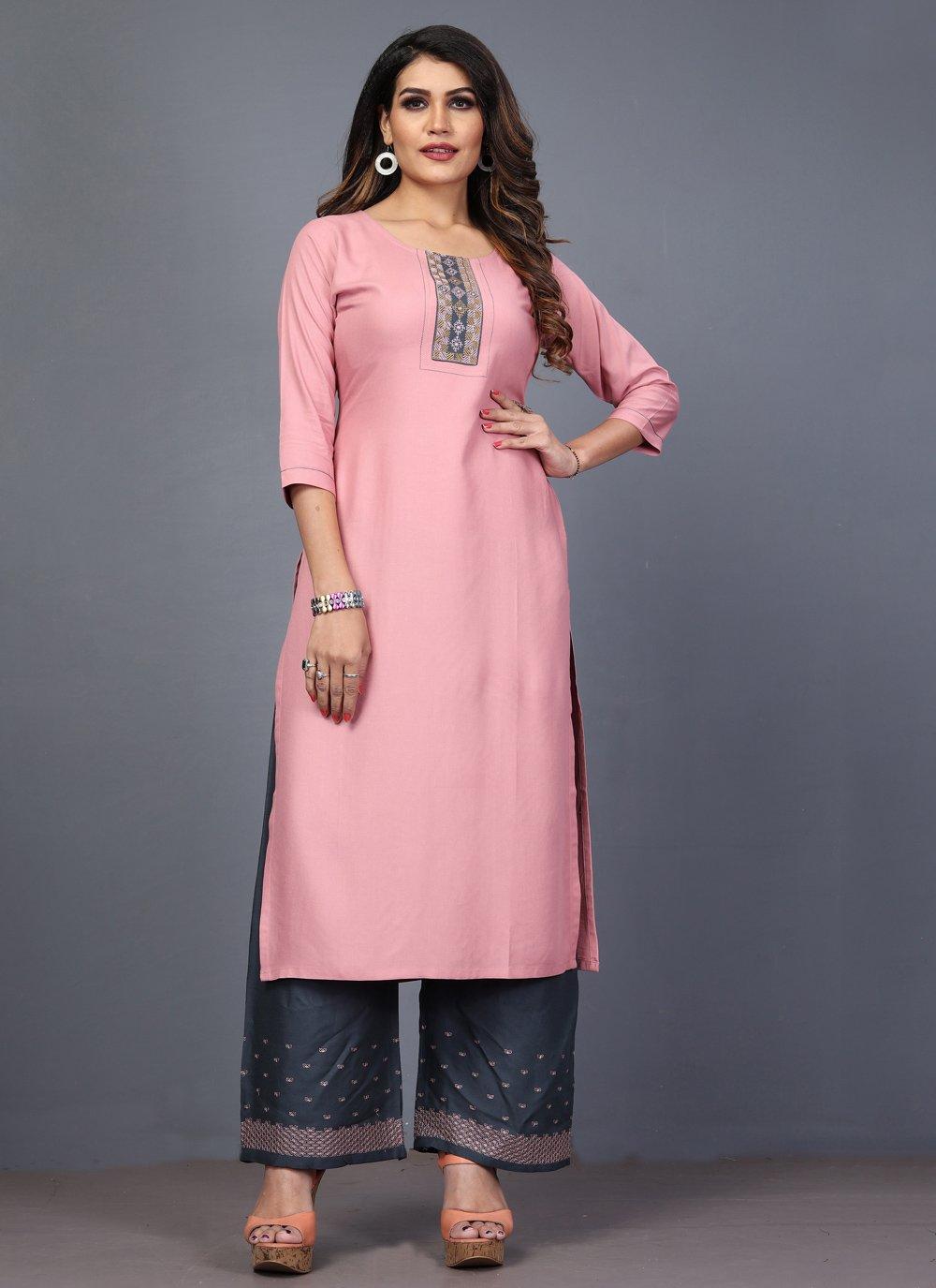 Rayon Embroidered Designer Kurti in Pink