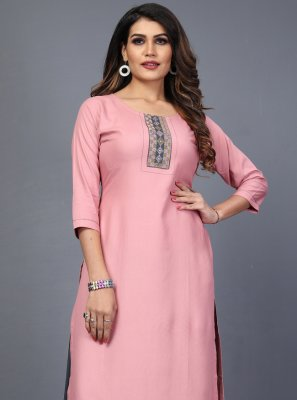 Rayon Embroidered Designer Kurti in Pink
