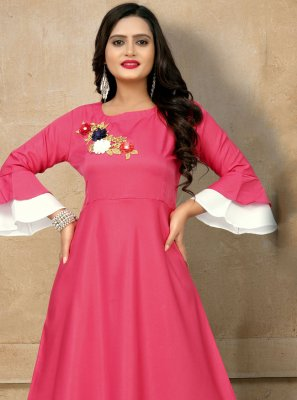 Rayon Embroidered Party Wear Kurti in Pink