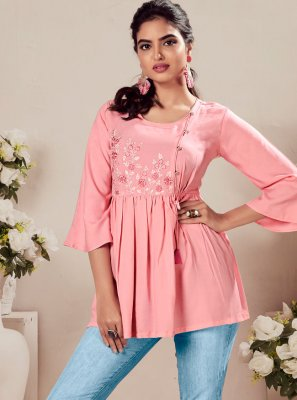 Rayon Embroidered Pink Party Wear Kurti