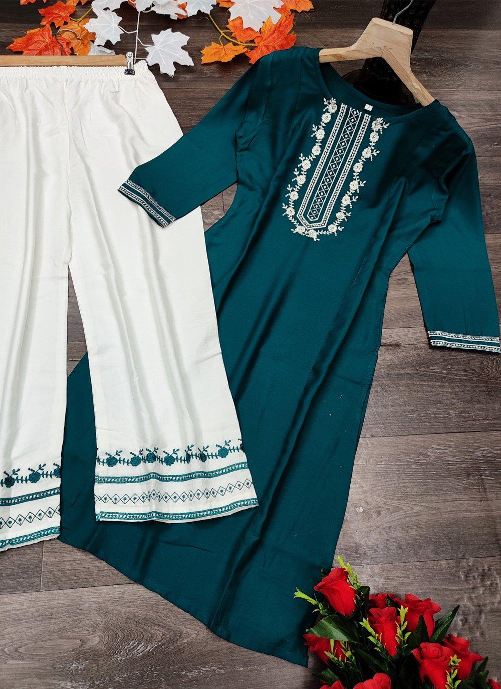 Rayon Embroidered Rama Designer Kurti