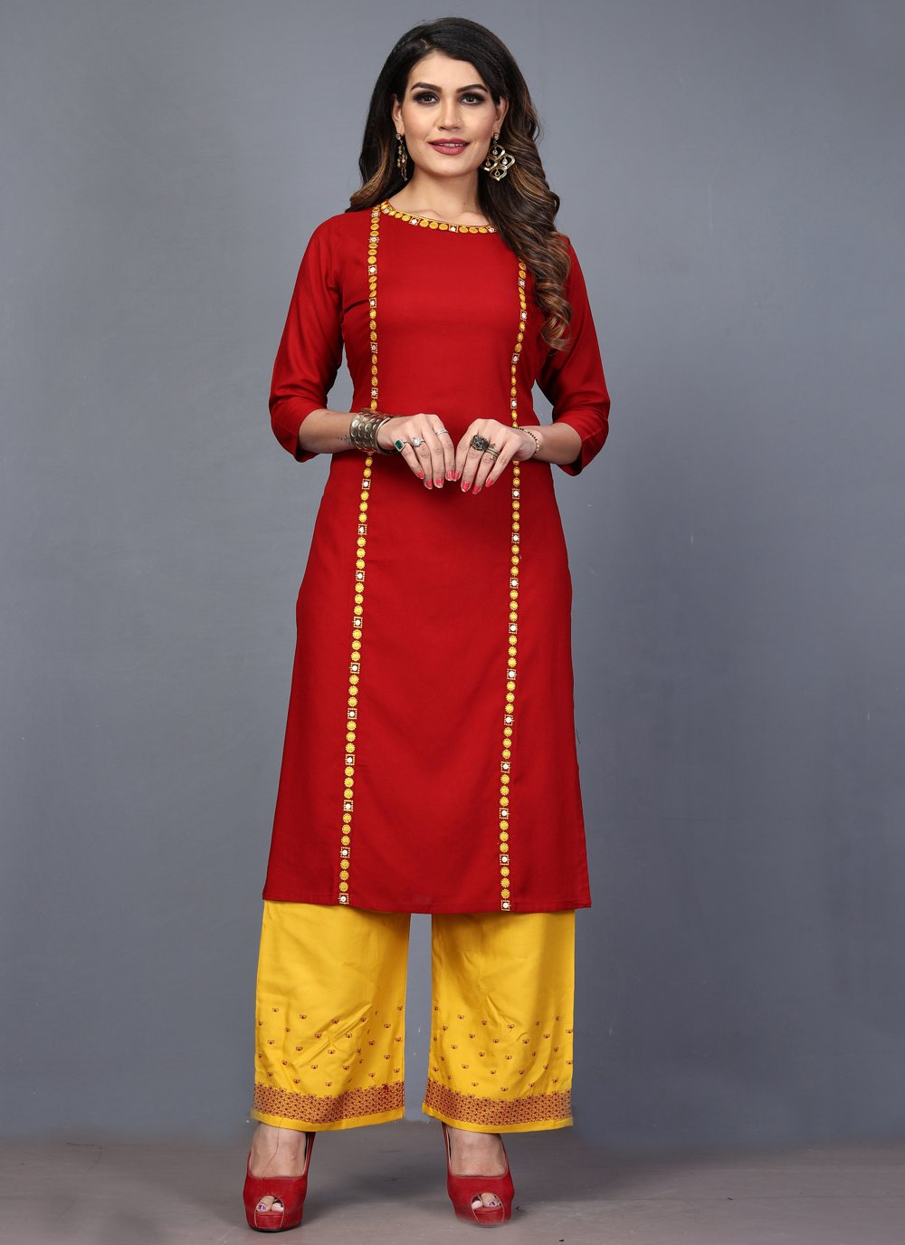 Rayon Embroidered Red Designer Kurti