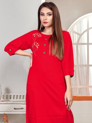 Rayon Embroidered Red Party Wear Kurti