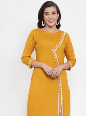 Rayon Fancy Designer Kurti in Yellow