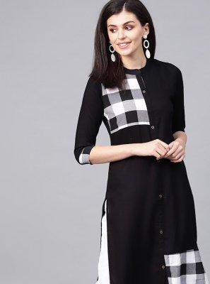 Rayon Fancy Party Wear Kurti in Black
