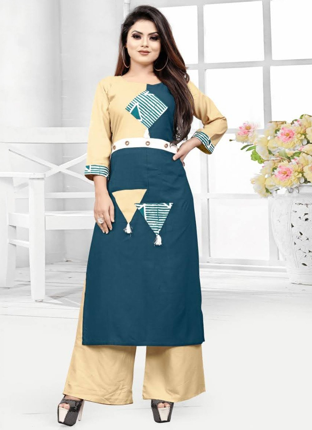 Rayon Fancy Party Wear Kurti in Cream and Teal