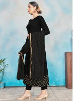 Rayon Foil Print Black Readymade Suit