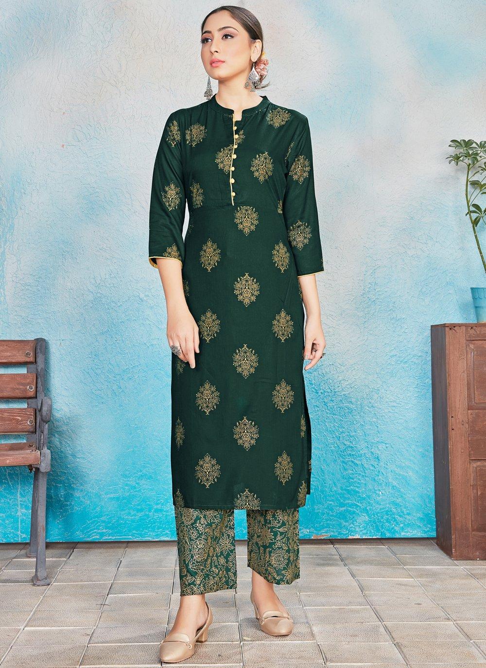 Rayon Foil Print Designer Kurti in Green
