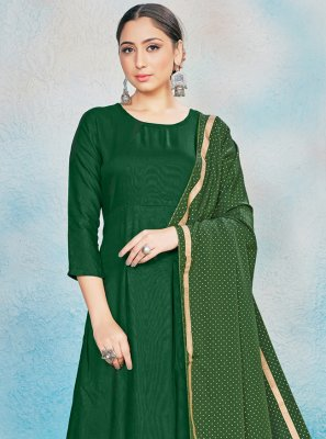 Rayon Foil Print Green Readymade Suit