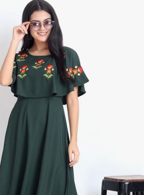 Rayon Green Embroidered Designer Kurti