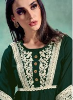 Rayon Green Embroidered Party Wear Kurti