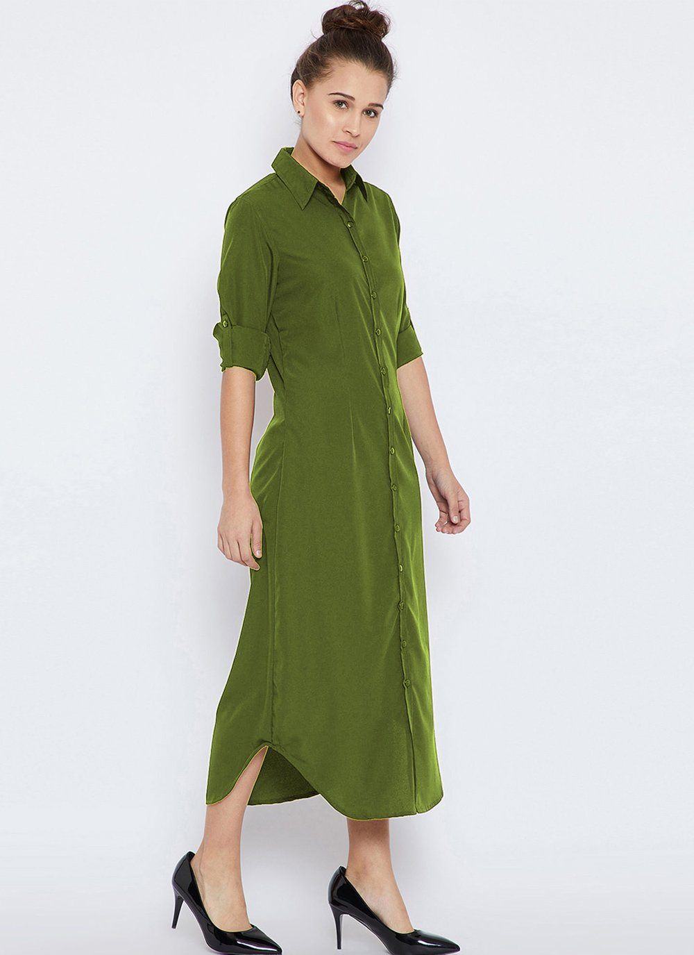 Rayon Green Plain Party Wear Kurti