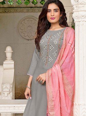 Rayon Grey Pant Style Suit