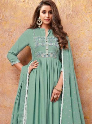 Rayon Handwork Readymade Suit in Sea Green
