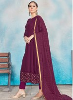 Rayon Magenta Foil Print Readymade Suit