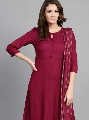 Rayon Magenta Readymade Suit