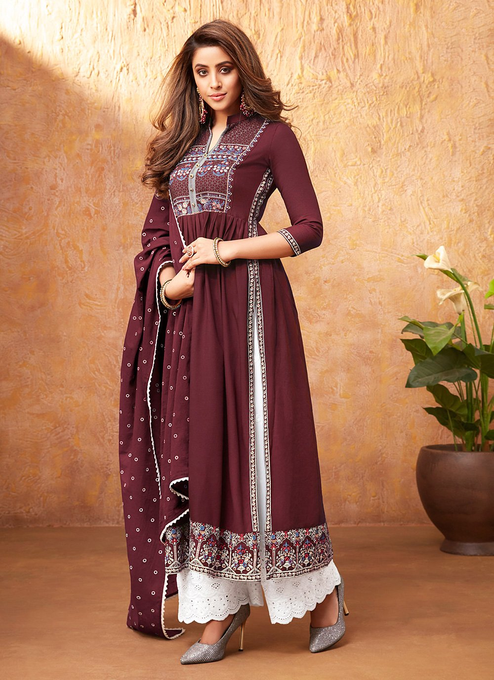 Rayon Maroon Readymade Suit