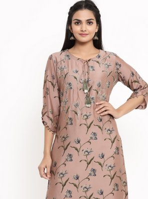 Rayon Mauve  Print Party Wear Kurti