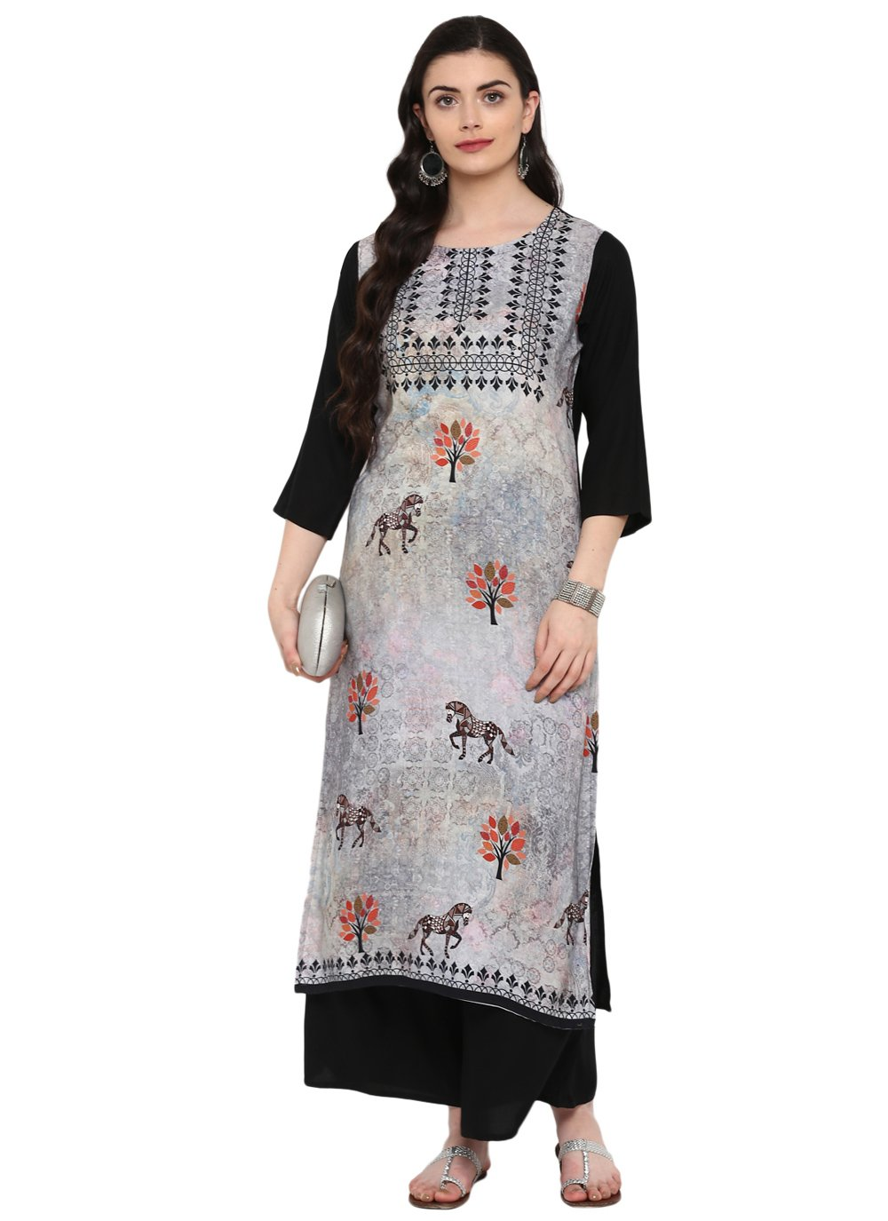 Rayon Multi Colour Print Casual Kurti