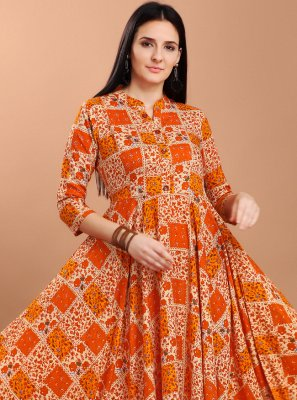 Rayon Multi Colour Print Party Wear Kurti