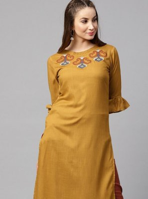 Rayon Mustard Embroidered Party Wear Kurti