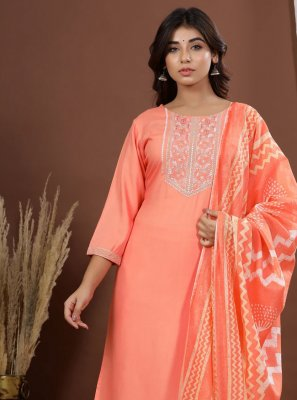 Rayon Orange Embroidered Readymade Suit
