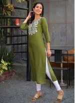 Rayon Party Wear Kurti in Green