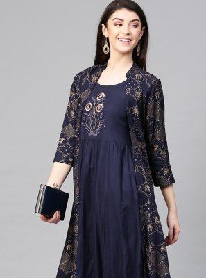 Rayon Party Wear Kurti in Navy Blue