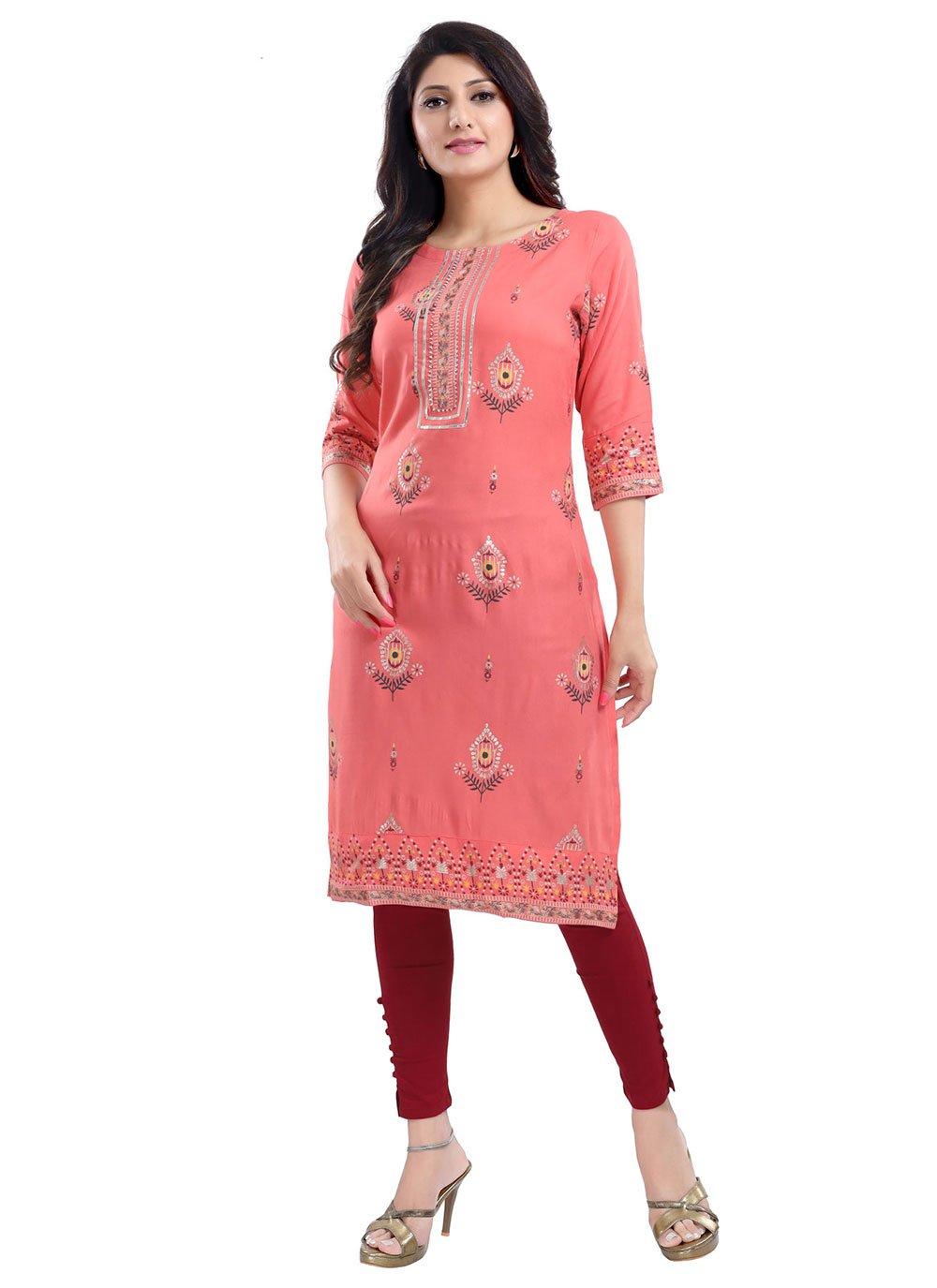 Rayon Pink Printed Party Wear Kurti