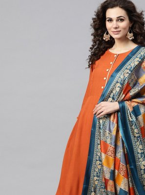 Rayon Plain Orange Anarkali Salwar Kameez