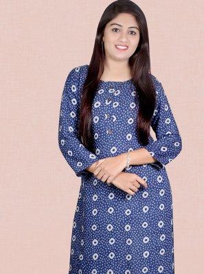 Rayon Print Blue Party Wear Kurti