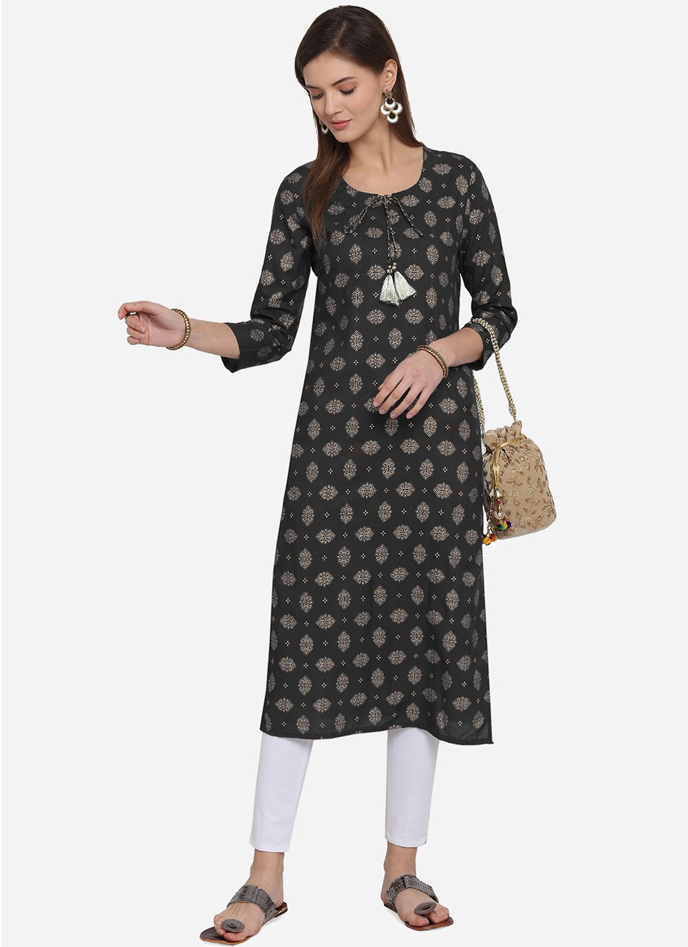 Rayon Print Casual Kurti in Black