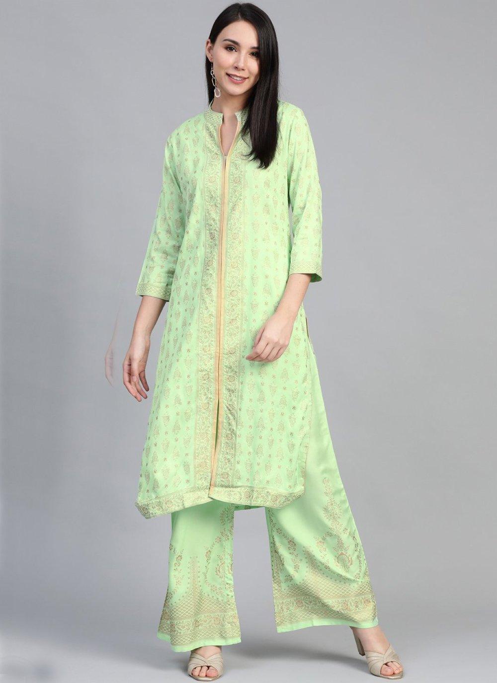 Rayon Print Green Party Wear Kurti