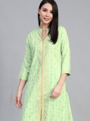 Rayon Print Green Party Wear Kurti