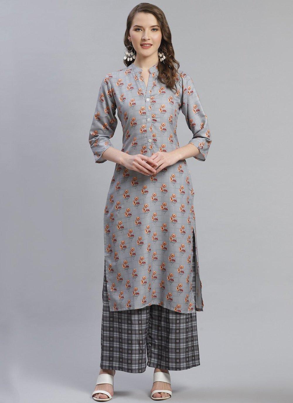 Rayon Print Grey Party Wear Kurti
