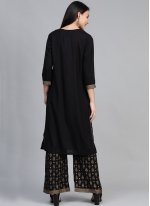 Rayon Print Party Wear Kurti in Black