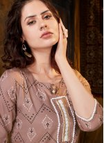 Rayon Print Party Wear Kurti in Brown