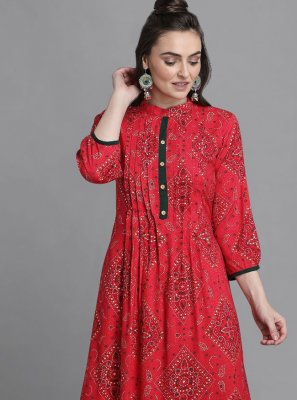 Rayon Print Party Wear Kurti in Pink
