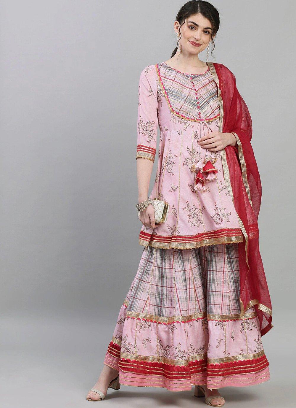 Rayon Print Pink Readymade Suit